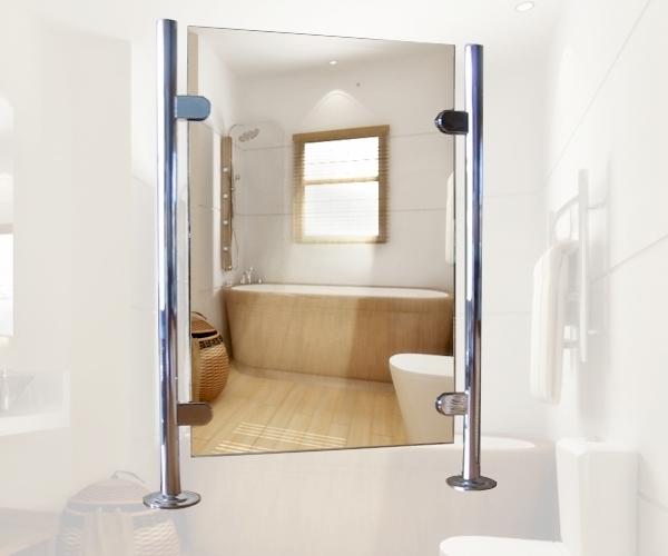 freistehender spiegel doppelseitiger spiegel zwischen 2 chrome. Black Bedroom Furniture Sets. Home Design Ideas